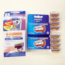 Six 6Blades Razor Shaving Trimmer 12 Cartridge Value Pack Top Quality by Dorco