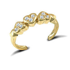 Love Hearts Toe Ring 9ct Gold Cz Trilogy Pave