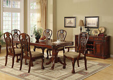 Traditional Dining Room Formal 7pc Dining Set Table w Leaf Padded Seat Chairs
