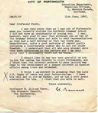 1947 Letter from Portsmouth Education Dept to Prof Peers at Liverpool Uni (EPH)