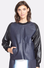 $695 NWT VINCE COLORBLOCK LEATHER PULLOVER TOP BLUE-MARINE-BLACK SZ M