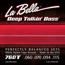 La Bella 760T White Nylon Tape Wound Bass Strings Standard Gauge