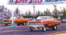 Pete Gates vs Dyno Don Nicholson 1966 Super Stock Nationals  Drag Racing Art Pri