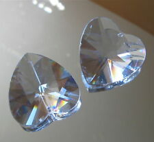 Two Faceted Crystal Heart Pendant Prism Ornament, 40mm
