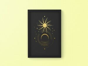 Sacred Moon and Sun Eclipse A4 Poster Print Décor Gift Wall Art