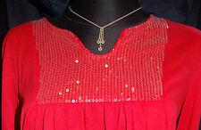 Pulli Shirt  Gr.L/XL 40/42  langarm rot Pailetten glitzer Vintage Boho NK177