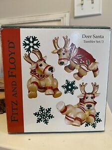 Fitz and Floyd Deer Santa Tumbler Set Reindeer Figures Figurine Christmas Decor