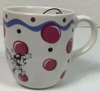 Disney Minnie Mouse Polka Dot White Pink Ceramic Coffee Cup Mug Pfaltzgraff