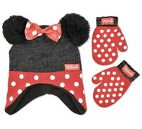 Disney Minnie Mouse Toddler Polka Dot Hat And Mittens Set ,Age 2-5
