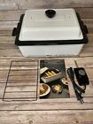 Nesco 4 Qt Roaster Oven Electric White Metal Ware Bake Steam Slow Cooker Vintage photo