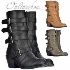 Klassische Stiefel Damen Nieten Schnallen Leder-Optik 812526 Mode