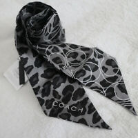 NWT COACH Ocelot Leopard Signature Ponytail Tan/Brown Silk Pony Tail Scarf NEW