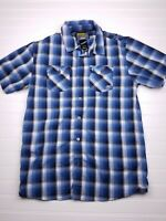 Klim Downtime Men's Size Small Plaid Blue/White Short-sleeve Button Shirt H08