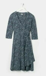 Fat Face Sadie Linear Garden Wrap Dress -Green-Deep Teal -Size UK 10 -RRP £49.50
