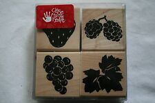 Lot of boxed wooden rubber stamps grapes strawberry fruit berries scrapbooking