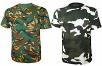 MENS NEW CAMOUFLAGE PRINT CASUAL B&W HUNTING TOP T SHIRTS SIZES SMALL - 5XL