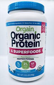 Orgain Organic Plant Based Superfoods Protein Supplement Powder Vanilla 2lb New