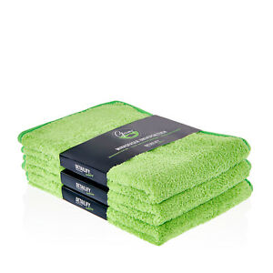 3x DETAILIFY Greeny Mikrofasertuch Auto Detailing 600 GSM Trocken Polier Tuch XL