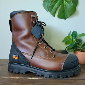 """Timberland Pro 8"""" Caprock Alloy Toe Leather Zip Up Boots A11T9 Men's Size 9 W"""