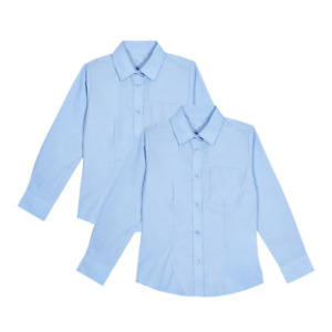 GIRLS SCHOOL SHIRTS BLUE 2 PACK LONG SLEEVE EX UK STORE NEW AGE 4-13 Y