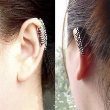 1x Punk Ear Clip Skull Vertebrae Cuff Wrap Earrings No piercing-Clip Jewelry!-CA