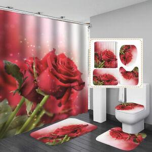 Red Rose Bath Mat Toilet Cover Rugs Shower Curtain Bathroom Decor