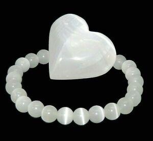 Reiki Healing Crystal Selenite Bracelet Gemstone 8mm Beads +Selenite Heart