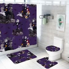 The Nightmare Before Christmas Shower Curtain Bathroom Mat Toilet Lid Cover 4PCS
