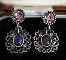Stone pierced Earrings Vintage Purple And Pink
