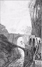 CANTON d'URI (SCHÖLLENEN):  LE PONT du DIABLE (Teufelbrücke) - Gravure du 19e s.