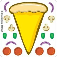 20 Make Your Own Pizza STICKERS Birthday Party Favors Supplies Loot Treat Bags