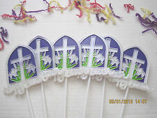 "Floral Picks Happy Easter Cross Lilies 12"" Set of 6!"