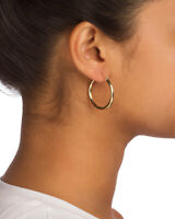 Reak 14k Yellow Gold 3mm Hoop Earrings - Sizes 15mm to 40mm Available!