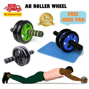 AB Fitness Wheel Roller Abdominal Waist Workout Exercise Gym With Free Knee Mat