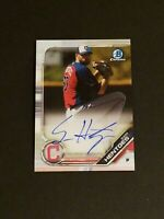 Sam Hentges 2019 Bowman Chrome AUTO Prospect Rookie CPA-SHE Cleveland Indians