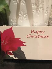 "25 Florist Cards ""Happy Christmas"" Red Pointsettia"