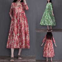 ZANZEA Women O Neck 3/4 Sleeve Floral Printed Long Maxi Dress Kaftan Sundress