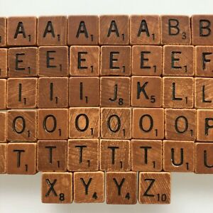 """Scrabble Game Travel Edition REPLACEMENT .5"""" Wood Tiles - DARKER TILES"""
