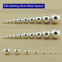 925 Sterling Silver Round Loose Bead Seamless Spacer DIY Craft 2 3 4 5 6 7 8 mm