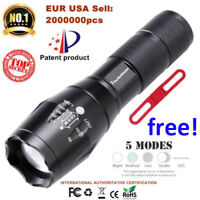 20000LM Tactical T6 LED Flashlight Zoomable 5 Modes Torch Light for 18650