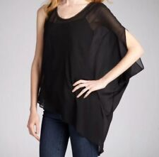 NWOT $290 Helmut Lang Black Silk Asymmetrical Single Short Sleeve Blouse Small