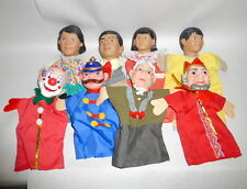 """8 Vintage 12"""" Rubber Head Hand Puppets Hispanic Family Clown King Police Granny"""