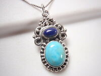 Turquoise and Lapis Tribal Style 925 Sterling Silver Pendant