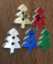Metallic Effect Christmas Trees Buttons 17x13mm 5 Colours Pack Of 6