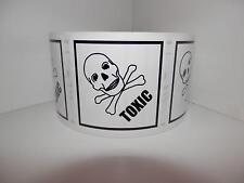 TOXIC Skull/Cross Bones  2X2 black/white Warning Stickers Labels 500/rl