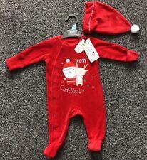Mothercare Babbo Natale Festive Baby Babygrow Tuta Tutto in Uno 0 - 3 MESE NUOVO