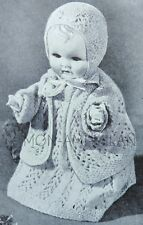 Baby Dolls Clothes 12 inch, 20s-30s Knitting/Crochet Pattern Copy, Lacy Layette