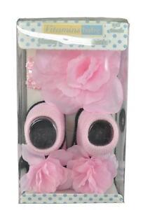 Vitamins Baby Infant Girls Pink & Black Novelty Headwrap & Socks Size 0-12M