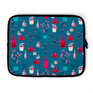 Flower Vase Teal Laptop Sleeve, laptop case, Device Case iPad, HP, ACER & more