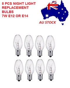 8 PCS 7W 240V E12/E14 Clear Bulbs Night Light Replacement